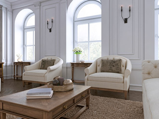 luxury two armchair in classic living room with tableset.
