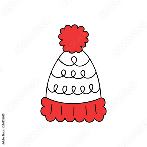 311c784bb1c1e Cute bobble hat vector outlined illustration icon. Winter