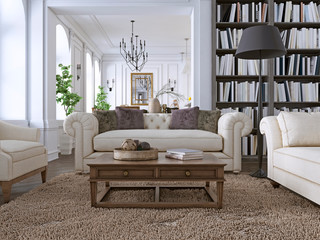 Luxury Sofa in classic living room with library.
