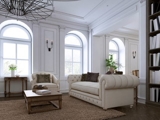 Classic living room, paneling and ceiling moldings over a herringbone hardwood floor furnished with white upholstered sofas and ottoman.