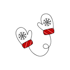 Cute mittens vector outlined illustration icon. Winter, christmas, seasonal, knitted gloves, white and red mitten with snowflake on string.