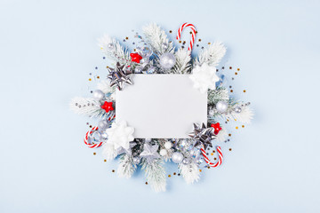 Christmas card with holiday decorations.