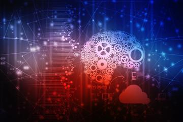 2d illustration technology gear brain