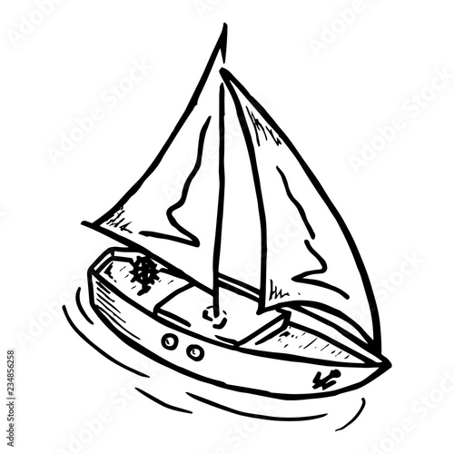 Wooden Yacht With A Sail Vector Illustration Of A Boat With Sails