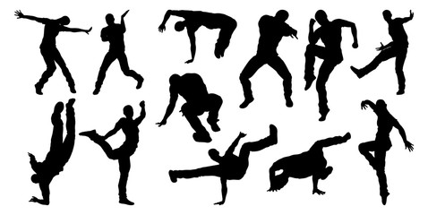 A set of male street dance hip hop dancers in silhouette