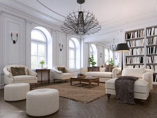 Luxury classic interior of living room and dining room with white furniture and metal chandeliers.