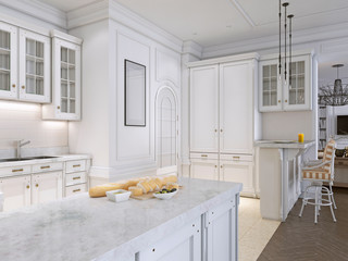 classic kitchen with wooden and White details, interior design.