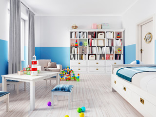 An empty children's playroom with a children's table and colorful toys.