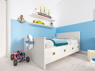 Children's bedroom with a white bed in the room and a shelf with a vintage ship and various toys.