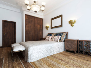 The large bed in the bedroom is middle eastern arabic style with patterned pillows and bedspread. The picture above the headboard.