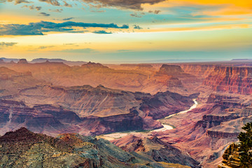 Sunset at the Grand Canyon seen from Desert View Point