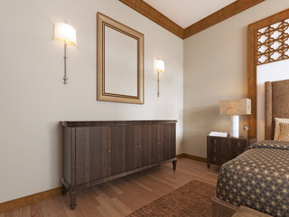 Wooden chest of drawers with a picture above and sconces on the wall.