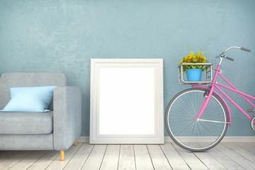 3d render - mock up poster in a living room
