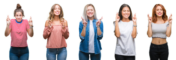 Collage of young beautiful grop of women over isolated background smiling crossing fingers with hope and eyes closed. Luck and superstitious concept.