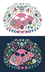 Hand-drawn cute cartoon car with a lot of floral elements and patterns. Flat doodle