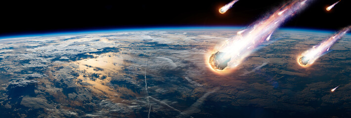 A comet, an asteroid, a meteorite glows, enters the earth's atmosphere. Attack of the meteorite....