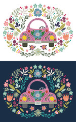 Hand drawing pink cute cartoon car with a floral elements and patterns. Doodle folk flat, vector