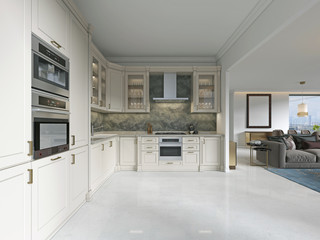 Modern art deco kitchen with classic elements. Glass facade and built-in appliances. Interior in beige colors.
