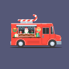 Santa Claus in a festive Christmas truck with gifts and sweet candies. Happy Christmas and New Year. Vector illustration in flat style