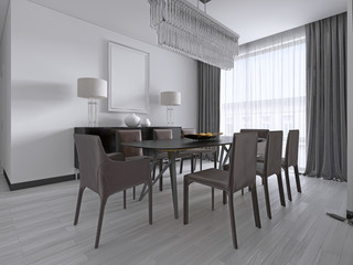 Contemporary dining room with a large rectangular dining table with eight brown leather chairs and a black picture dresser and lamps.