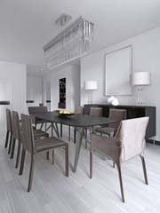 Dining table in a studio apartment in the Scandinavian style.