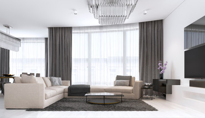decoration and design of contemporary living room