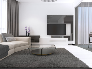 Interior Design: Living room with a large corner sofa and a TV unit in contemporary style.