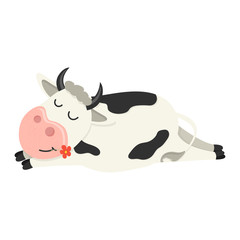 A funny cow is asleep. Set of cute Cows character in various poses