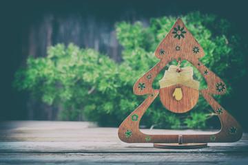 Handmade Christmas tree made of wood