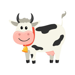 Cute cow stands and smiles. Set of cute Cows character in various poses