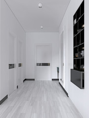 white corridor with doors and built-in black shelves with a decor in the Scandinavian style.