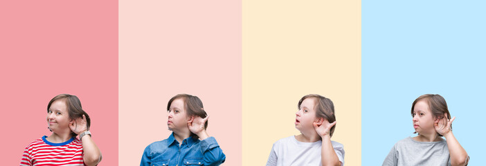 Collage of down syndrome woman over colorful stripes isolated background smiling with hand over ear listening an hearing to rumor or gossip. Deafness concept.