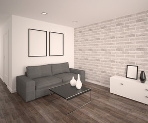 Modern living room with sofa. Parquet floor, bricks wall. Empty frames and vases. 3d architecture visualization