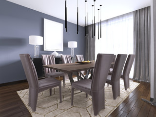 Modern dining room interior with violet walls, a wooden table with designer leather chairs near it, window and a chest of drawers.