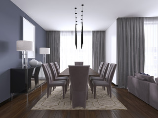 dining set in modern luxury brown dining room