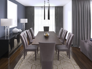 Luxurious modern dining room boasts a wood dining table illuminated by a pendant lights and surrounded by brown leather dining chairs over taupe sisal rug finished with modern chest of drawers.