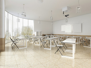 Modern classroom with large panoramic windows and white desks, bright interior.