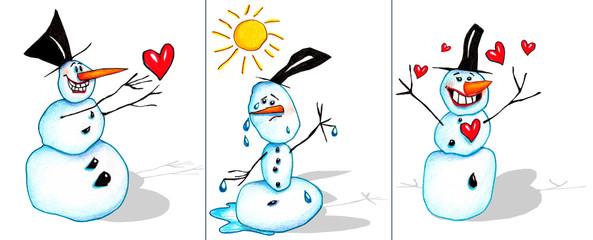 Drei Schneemänner, Winter, Herzen, Liebe, Illustration von Kathrin Schwertner