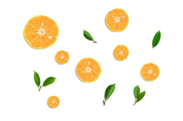 Top view Orange  fruit slice and green leaf   isolated on white background .