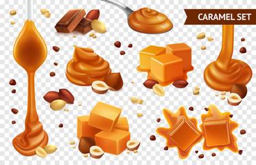 Realistic Caramel Chocolate Nut Icon Set