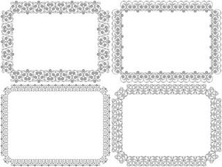 Set of four decorative flower frames