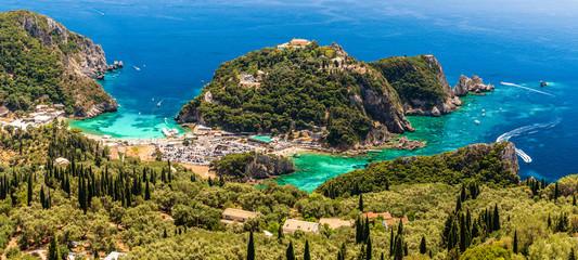 Wall Mural - Panoramic view of Paleokastritsa bay, Corfu island, Greece