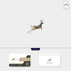 deer low poly concept logo template vector illustration, free your business card design template