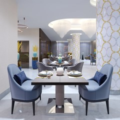 Luxurious hotel restaurant in modern style with colorful furniture.