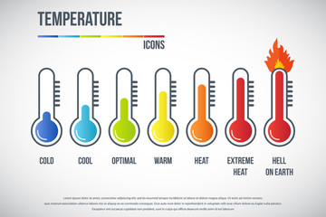 Temperature icons set. illustration of  thermometers with different levels, flat style, EPS10.