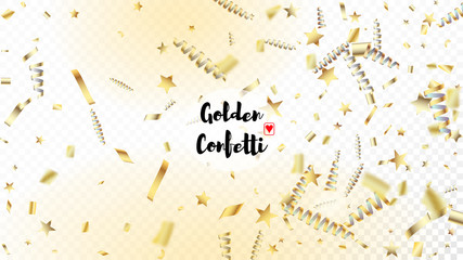 Modern Gold Confetti, Falling Stars, Streamers, Tinsel. Horizontal Bright Glitter Background. Cool Rich VIP Christmas, New Year, Birthday Party Holiday Frame. Gold Confetti, Falling Down Stars.