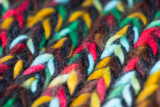Close-up of knitted wool texture