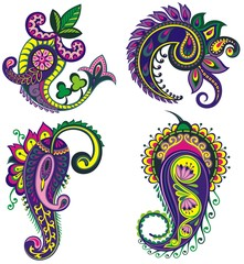 Paisley. Set of paisley elements with flowers