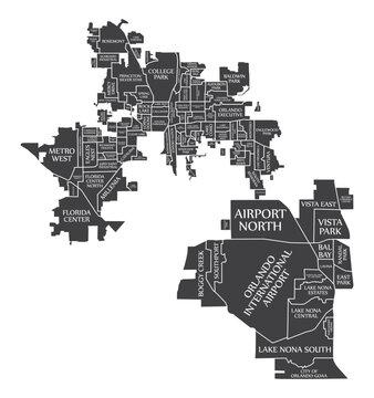 Orlando Florida City Map USA labelled black illustration