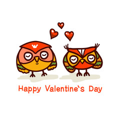 cute owls couple valentines day vector hand drawn illustration